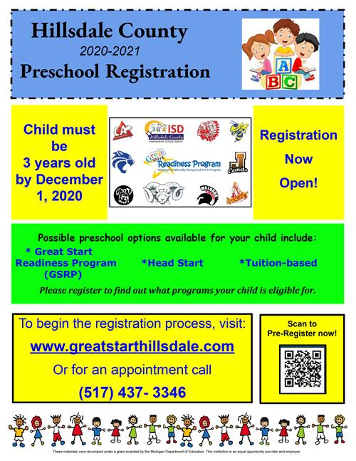 Hillsdale County 2020-2021 Preschool Registration