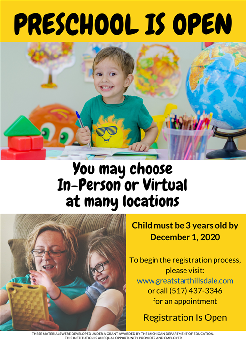 20/21 Preschool Registration Open Online Now